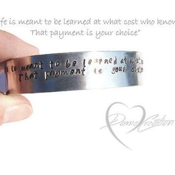 Bracelet Cuff - Inspirational Bracelet - Poetry Stamped - Poetic Jewelry - Hand Stamped Bracelet - Aluminum Cuff - Words on Bracelet