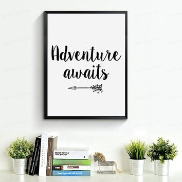 Quoted Adventure Awaits Canvas  Poster for Nursery