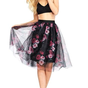 Blooming Tulle Midi Skirt