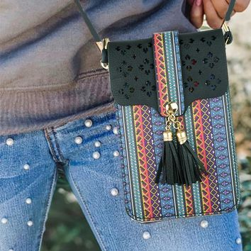 Aztec Cellphone Crossbody Pouch with Strap