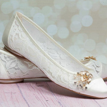 Wedding Shoes - Lace - Lace Shoe - Dyeable Choose From Over 250 Colors - Lace Wedding Shoe - Custom Dyeable Shoes - Lace Ballet Shoe - Lace