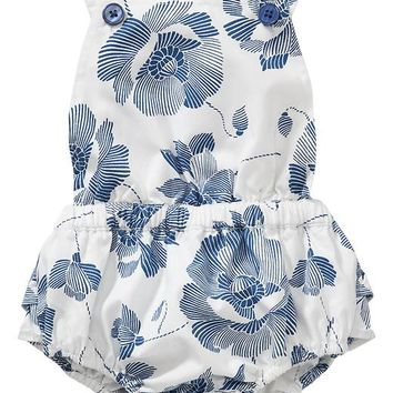 Old Navy Indigo Floral Rompers For Baby