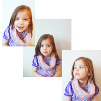 Waffle Stitch Cowl Scarf in Powder Pink, Toddlers to Adults,  ready to ship.