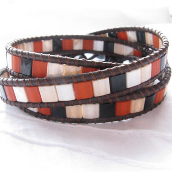 Earthy Shades Triple Leather Wrap Bracelet, Brown leather, Tila beads