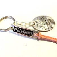 Best Friend Keychain, Cute Gift For Best Friend, Shell In Pocket Charm, Quote Keychain, Beach Inspired Key Ring, Pink Suede Accessory