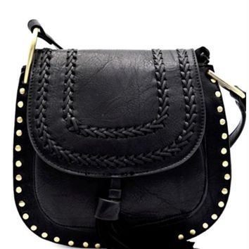 Boho Black Studded Trim Crossbody Bag