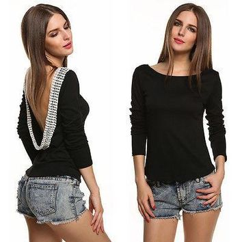 2016 Sexy Women Casual Loose Shirt Solid Club Party Beach Open Back Blouse TOPS New