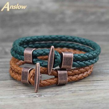 Anslow Fashion Jewelry Trendy Vintage Retro Leather Bracelet For Men Unisex Wrap Charm Female Friendship Gift LOW0241LB