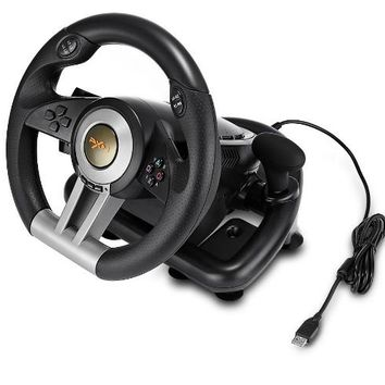 PXN V3II Racing Game Steering Wheel with Foldable Pedal Compatible with PC PS3 PS4 Xbox One 7 Powerful Suction Cups