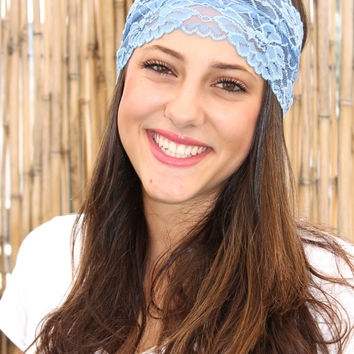 Blue Lace Headband, Turban Head Wrap, Elastic Hairband, Women Hair Accessories, Wide Headband,  Head Covering, Handmade Head band
