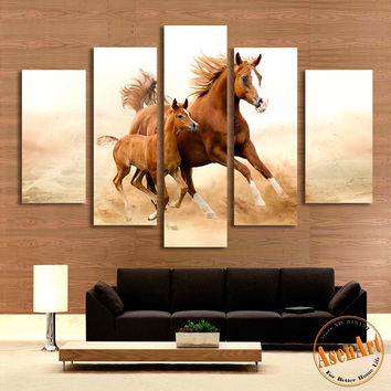 5 Piece Wall Art Mom With Kid Large Horse Painting Canvas Prints Artwork  Wall Picture For