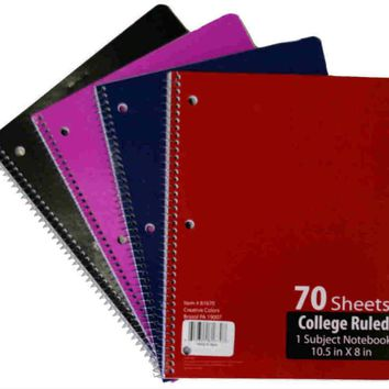 College Ruled 1 Subject Notebook - 70 Page - CASE OF 48