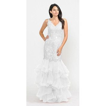 Tiered White Appliqued Long Prom Dress