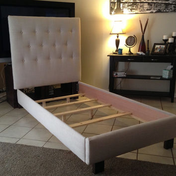 Twin headboard and bed frame Tan Begie Linen upholstered