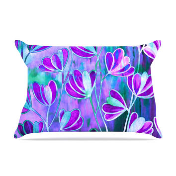 "Ebi Emporium ""Efflorescence - Lavender Blue"" Teal Purple Pillow Sham"