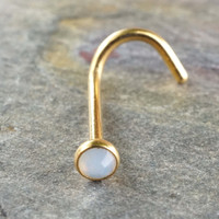White Opalite Opal Gold Corkscrew Nose Ring Nose Piercing