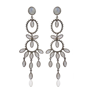 Rainbow Moonstone Handmade Brass Metal Designer Earring Women Fashion Jewelry
