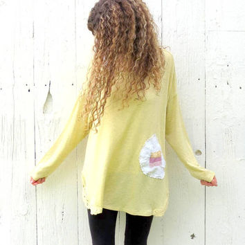 Upcycled shirt , Plus size tunic , womens size XL- 2X  yellow tunic top , shabby chic romantic clothing , black and gray altered shirt
