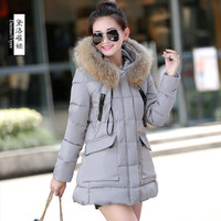 New Winter Jacket Coat Women Faux Fur Collar Thickening Hooded Down Parkas Long Zipper A Line Overcoats Black Red Colors
