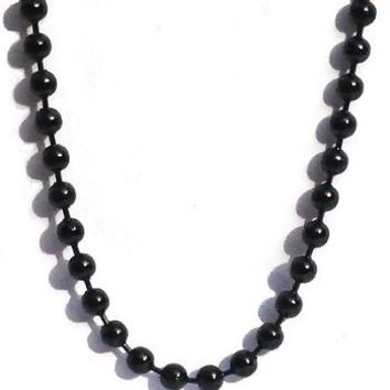Black Stainless Steel 36 Inch 3.2mm Ball Link Neck Chain Necklace