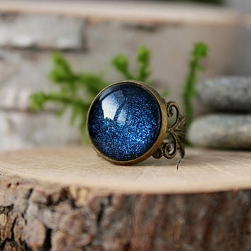 Navy Blue Ring | Antique Bronze Ring | Adjustable Ring | Galaxy Ring | Blue Ring | Glass Ring | Personalized Jewelry
