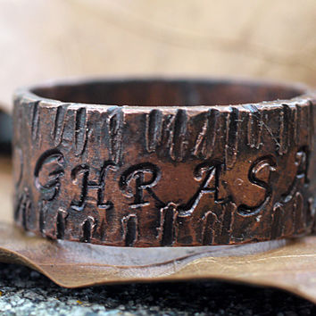 Personalized Copper Name Ring for Men / Women, Engraved, Rugged Tree Bark Texture, Dark Copper Finish