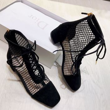 NAUGHTILY-D LACE-UP ANKLE BOOT IN BLACK SUEDE CALFSKIN AND MESH