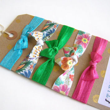 Tropical Summer Hair Ties, FOE, Elastic Hair Ties, Summer Hair Ties, Summer Hair Accessories, Bright Hair Ties, Fun Hair Ties