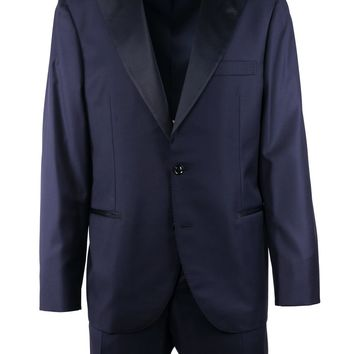 Brunello Cucinelli Navy Wool Satin Lapel Tuxedo 2 Piece Suit