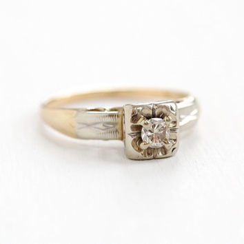 Sale - Vintage 10K Yellow   White Gold 1 10 Carat Solitaire Diamond Ring - 5726365a8