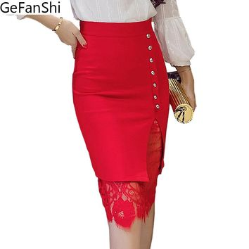 Plus Size Lace Patchwork Single-breasted Office Skirt  Woman Pencil Skirts Sexy Fashion Skirt Ladies Midi Bodycon Skirt