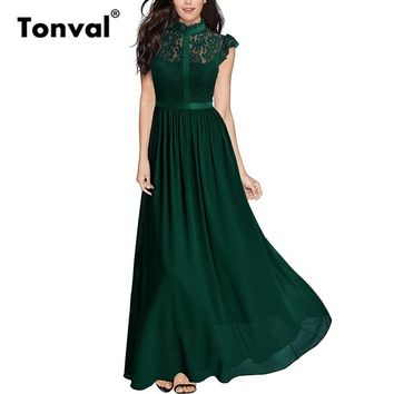 Tonval Vintage Ruffle Elegant Lace Maxi Dress Women Chiffon Green Dress Cap Sleeve Sexy Evening Party Long Dresses