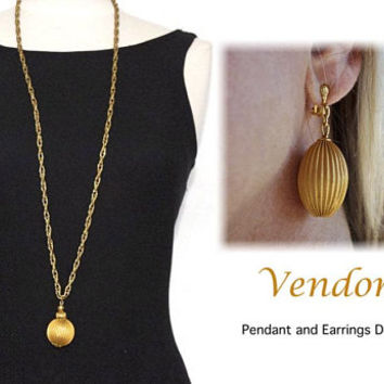 VENDOME Jewelry Set, Vintage Clip Earrings with Matching Pendant Necklace, Gold Tone High End Collectible Runway Jewelry
