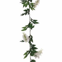 Wisteria Silk Floral Garland in White - 6' Long