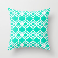 Lattice Stars in Teal Throw Pillow by House of Jennifer