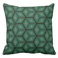 Green Cubed Geometrical Pattern Throw Pillow