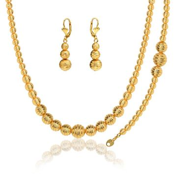 Gold Color Hollow Bead Jewelry Set For Women