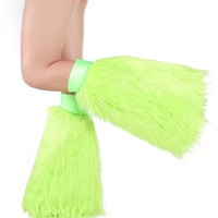 Lime Green Fluffies : Clubstyle Rave Fluffy Leg Warmers