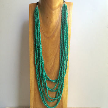 Layer Necklace, Seed Bead Necklace, Teal Necklace, Multi Strand Necklace, Turquoise Necklace, Beaded Necklace, Turquoise Statement Necklace,