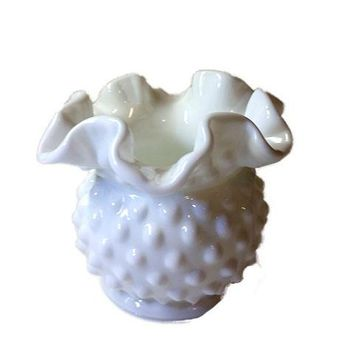 White Hobnail Milk Glass Vase / Small Bowl with Fluted Top