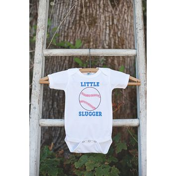 Little Slugger Baseball Bodysuit - Baseball Onepiece Bodysuit - Baseball Outfit - Boys Romper - Baseball Baby Shower Gift