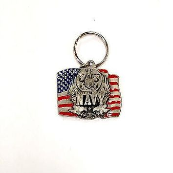 Navy Heavy Duty Metal Pewter Keychain United States US Military