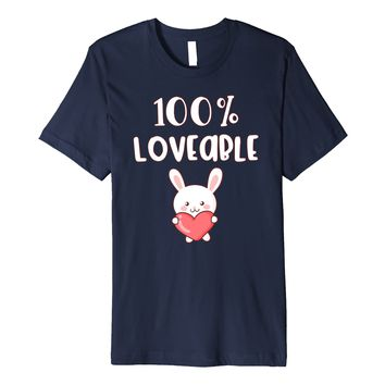 100% loveable cute bunny Celebrate Valentines Day T-shirt