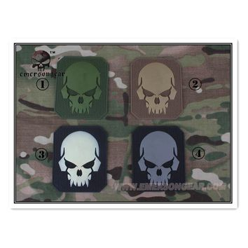 Emersongear PVC Patch Skull luminous Badges Tactical Military Airsoft Equipment Wargame EM5550 White Olive Gray  Gun Accessories