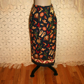90s Novelty Print Skirt Native American Cotton Wrap Skirt Womens Skirts Small Medium Indian Headdress Thunderbird 1990s Vintage Clothing