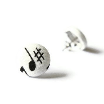 Music Notes Fabric Covered Button Earrings