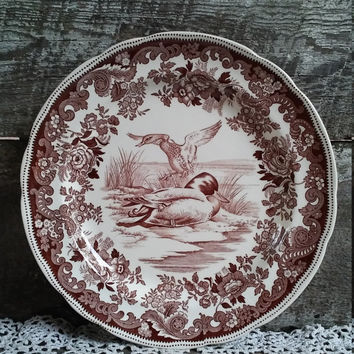 "Copeland Spode #20, Mallard Duck, Dinner Plate, Brown Transferware Plate, 10 3/8"", England, Thanksgiving, Ironstone, Floral, Game Birds"