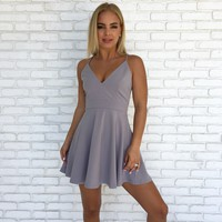 Piper Lace Skater Dress in Grey