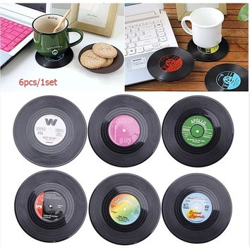 6PCS/Set Round Vinyl Coasters Groovy Record Cup Drinks Holder Mats Placemats Tableware