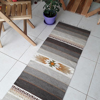 Striped kilim rug in natural colors and yellow and brown, tribal design rug to add a simple touch of decor